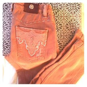 Antik Denim rusty pink embroidered Jeans 27